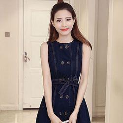 Đầm váy ( đầm jean phối nút cách điệu )
