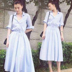 Đầm sơ mi sọc form dài
