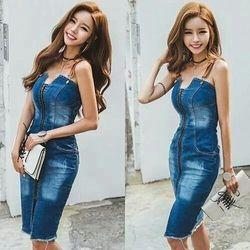 Đầm jean body 2 dây