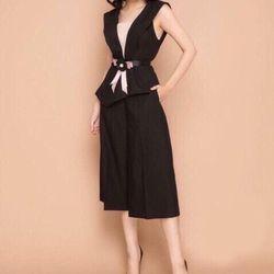 Sét áo cổ V vạt xéo + quần ống rộng