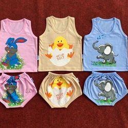 Set 5 bộ áo quần cotton in hình thú Áo ba lỗ quần mông thú