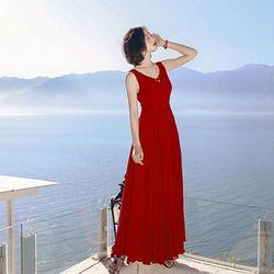 Đầm maxi đỏ cao cấp cổ V cột eo nơ
