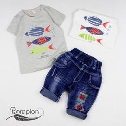 Bộ bé trai cá + quần jean