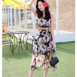 Đầm maxi voan hoa ( kèm belt vải)