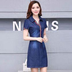 Đầm Jean Suông Phối Phụ Kiện