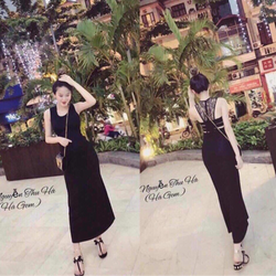 Đầm maxi đen ren lưng