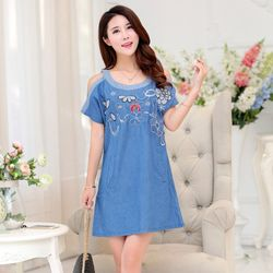 Đầm Jean Suông Hở Vai Thêu Hoa Cách Điệu giá sỉ