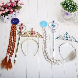 BÁN SỈ - Bộ gậy phép vương miện đuôi tóc công chúa Elsa