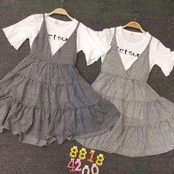 Váy kẻ kèm áo thun cotton trắng giá sỉ