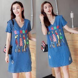 Đầm Jean Suông Four Girls Phối 2 túi giá sỉ