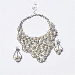 Bộ trang sức nữ  bông tai, dây chuyền hạt ngọc đính đá hàng xuất V1191