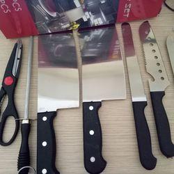 Bộ dao kéo làm bếp 8 món kèm ống cắm giá sỉ