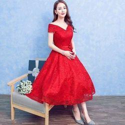 Đầm xòe bệt vai kèm hoa - A28459 giá sỉ