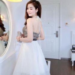 Đầm xoè cổ yếm phối kim sa tùng lưới - A27184 giá sỉ, giá bán buôn