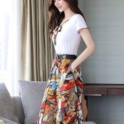 Hàng Nhâp - Sét áo thun quần ống rộng họa tiết kèm nịt
