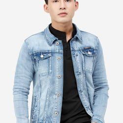 Áo khoác jean Titishop AKN444 màu xanh da trời đính khuy giá sỉ