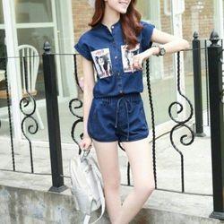 đồ bộ nữ - bộ jean in hình cô gái