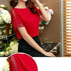 áo nữ - áo kiểu phối ren đỏ trắng
