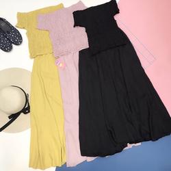 Set bộ Áo bo thun chân váy dài giá sỉ