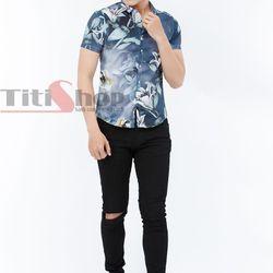 Áo sơ mi Titishop SM550 tay ngắn màu xanh jean họa tiết hoa - giá sỉ, giá tốt