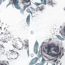Áo sơ mi Titishop SM548 tay ngắn màu trắng họa tiết hoa xám xanh - giá sỉ, giá tốt