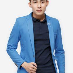 Áo vest Titishop màu xanh dương cổ bẻ thêu họa tiết AVN61 giá sỉ