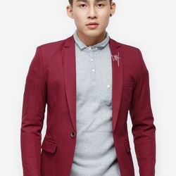 Áo vest Titishop màu đỏ cổ bẻ thêu họa tiết AVN59 giá sỉ