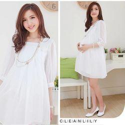 Đầm bầu ngắn tay thời trang trơn màu xếp li trang nhã phong cách Hàn Mã sản phẩm 10488377 giá sỉ
