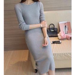 Đầm len dạng dài xẻ sau giá sỉ