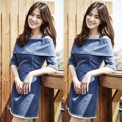 Đầm Jean Song Hye Kyo hở vai giá sỉ