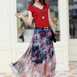 Hàng Nhâp - Sét áo thun Chân váy hoa kèm nịt