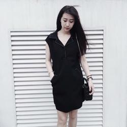 váy cổ vest đen/trắng