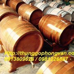 Trống rượu gỗ sồi đai gỗ