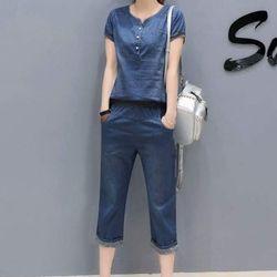 Sét jean quần lửng áo lai bo thun