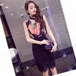 Set áo voan hoa váy cát hàn phối ren T08540 - giá sỉ, giá tốt