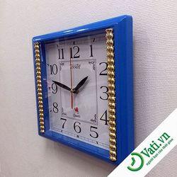 đồng hồ treo tường vuông vati blue s5 - nhận in quảng cáo lên đồng hồ