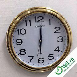 đồng hồ treo tường hình tròn Gold f52  -  nhận In quảng cáo lên đồng hồ treo tường