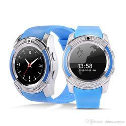 Đồng hồ thông minh có khe sim mặt tròn Smartwatch V8 ( xanh dương )