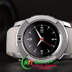 Đồng hồ thông minh có khe sim mặt tròn Smartwatch V8 ( trắng)