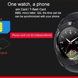 Đồng hồ thông minh có khe sim mặt tròn Smartwatch V8 ( Đen)