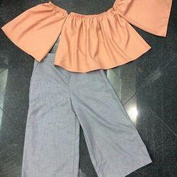 Set quần lửng ống rộng mẫu mới 2016 và áo trễ vai sành điệu