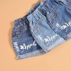 Quần short jeans bé gái in táo giá sỉ