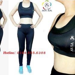 Bộ đồ thể thao nữ quần dài áo bra phối lưới giá sỉ