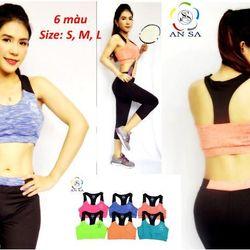 Bộ đồ lửng thể thao nữ áo bra phối dây đen DL2 giá sỉ