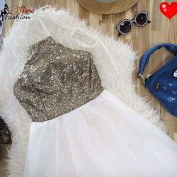 Đầm Xòe Kim Sa Cổ Yếm - giá sỉ, giá tốt