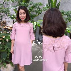 Đầm bầu hồng pha ren giá sỉ