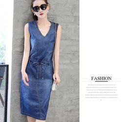 đầm váy - đầm jean dạo phố cột dây M L XL