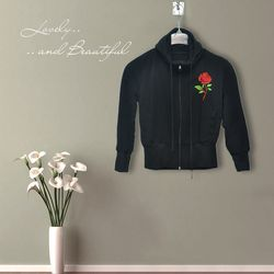 Áo khoác nữ thun da cá thêu hoa hồng xỏ ngón - ms 17136