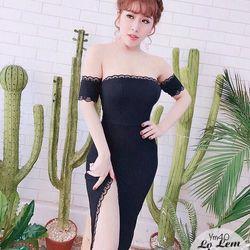 Đầm ôm body cúp ngực xẻ tà