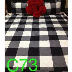 Bộ Drap Cotton Thắng Lợi - Họa tiết caro trắng đen C73